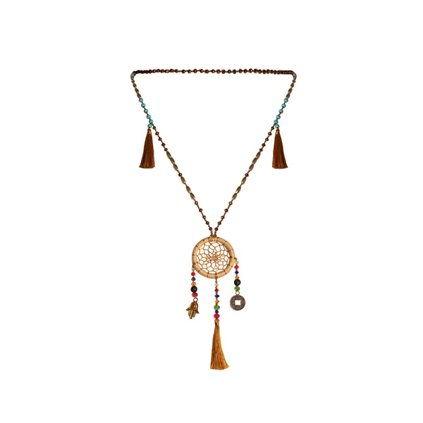 Bali Dreamcatcher Necklace in Tan - Corail Blanc