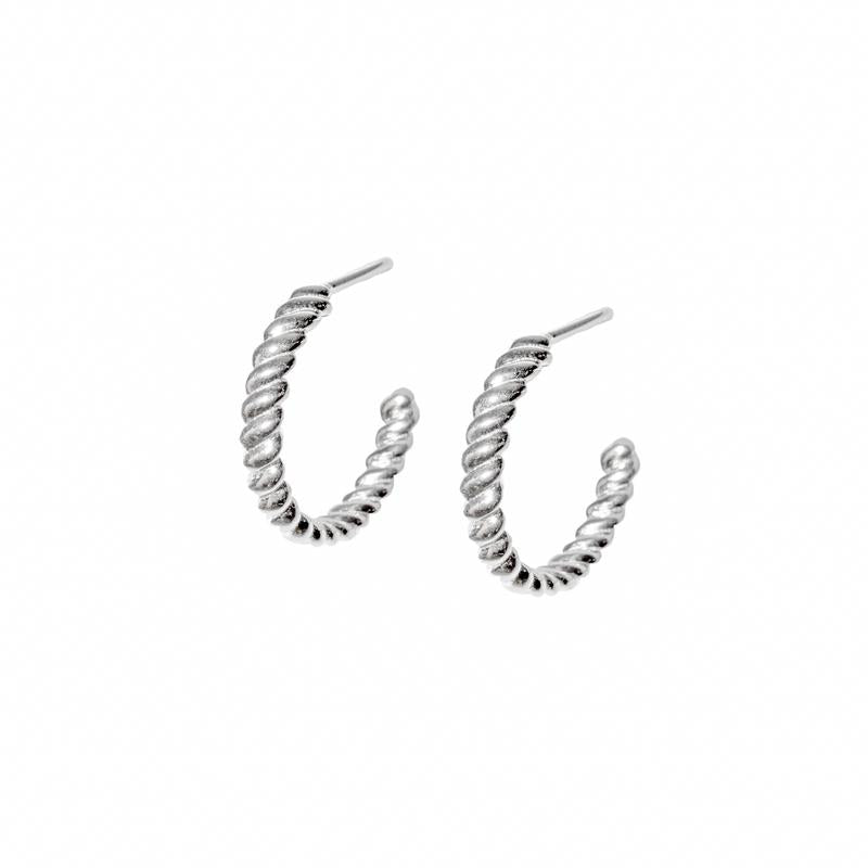 Twisted hoops in Silver - Corail Blanc