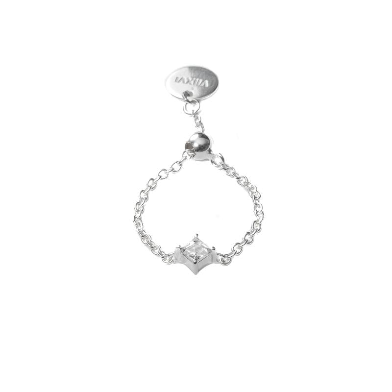 Single Crystal Ring in Silver - Corail Blanc
