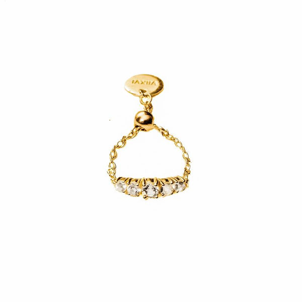 Crystal Chain Ring in Gold - Corail Blanc