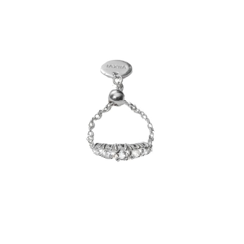 Crystal Chain Ring in Silver - Corail Blanc