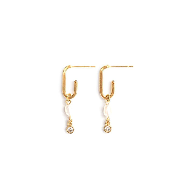 Catherine Earrings in Gold - Corail Blanc