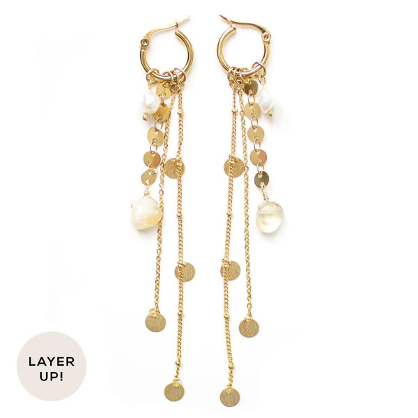 Honey Earrings in Gold - Corail Blanc