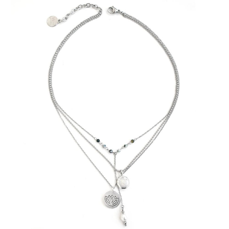 Lotus Necklace - Corail Blanc