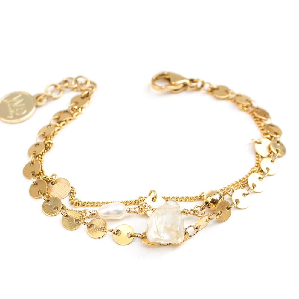 Satin Bracelet in Gold - Corail Blanc