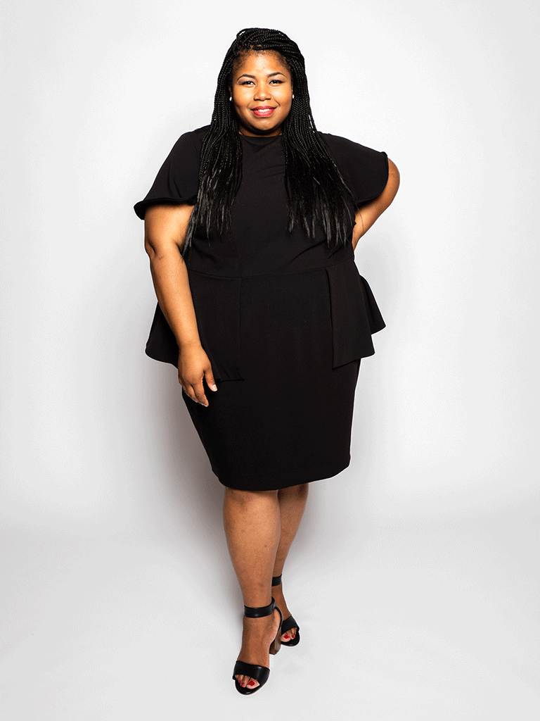 Elu Custom Plus Size Apparel Dress Shawn Front View