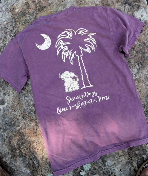 Short Sleeve Pocketed Palmetto Skies Berry Tee