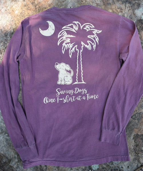 Long Sleeve Pocketed Palmetto Skies Berry Tee