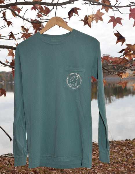 Long Sleeve Pocketed Palmetto Skies Green Tee