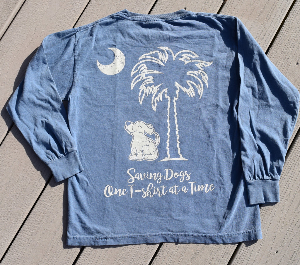 Kids Long Sleeve Blue Palmetto Skies Tees