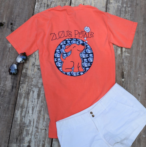 Short Sleeve Salmon Palmetto Beach Print