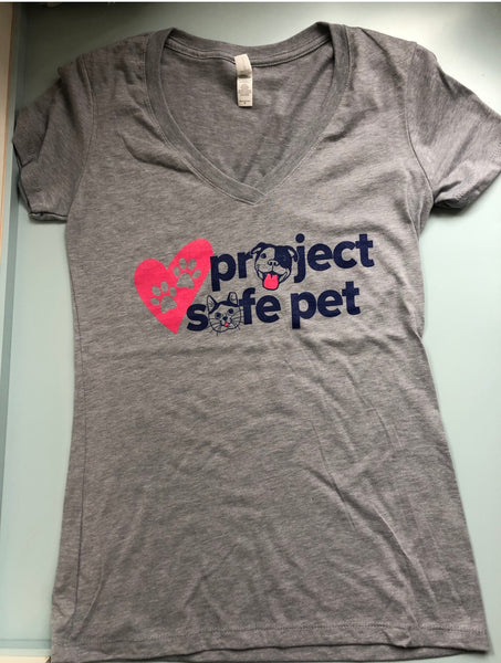 Project Safe Pet Women's fitted V Neck Rescue Tee