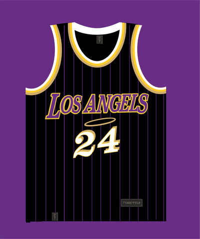 Los Angels in Black Purple Pinstripes MAMBA #24