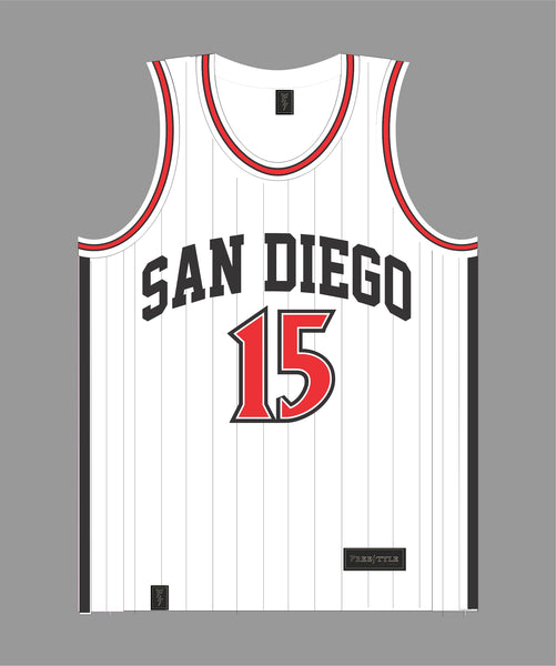 PRE ORDER SALE San Diego Basketball Jersey in White and Black Pinstripes #15 KAWHI