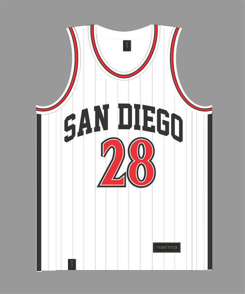 State Basketball Jersey in White and Black Pinstripes #28 FAULK
