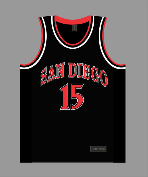 State Inspired Basketball Jersey in Black Red #15 KAWHI