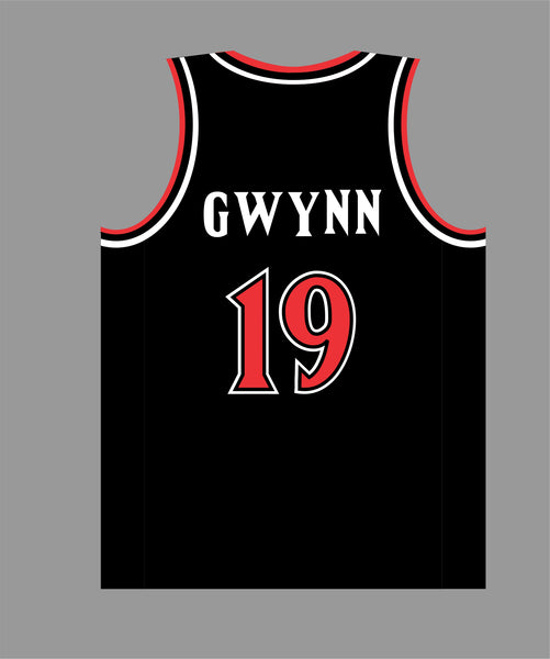 PRE ORDER SALE San Diego Basketball Jersey in Black Red #19 TONY G