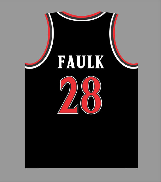 State Inspired Basketball Jersey in Black Red #28 FAULK