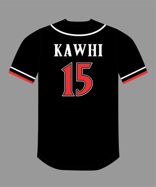 State Inspired Baseball Jersey in Black Red #15 KAWHI