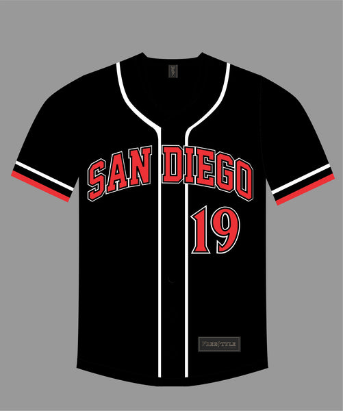 State Inspired Baseball Jersey in Black Red #19 FINE CITY
