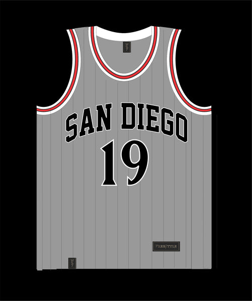 State Inspired Jersey in Gray w Black Pinstripes Red Trim  #19 FINE CITY