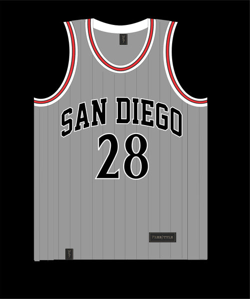 State Inspired Basketball Jersey in Gray w Black Pinstripes Red Trim #28 FAULK