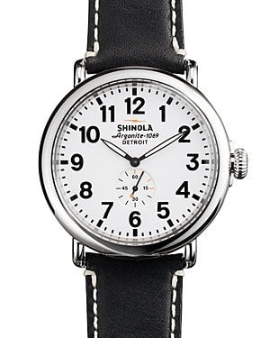 Shinola The Runwell White/ Black Leather Strap Watch 47MM