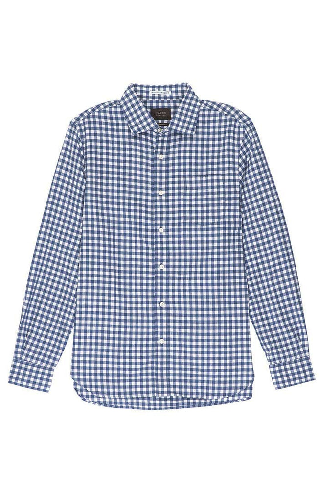 Blue Gingham Cotton Linen Shirt