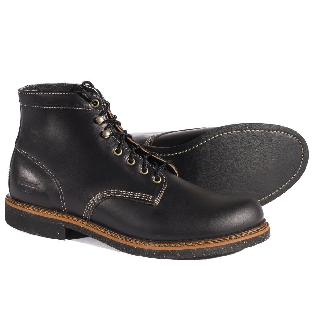 THOROGOOD 1892 PLAIN TOE LEATHER BOOTS- BLACK