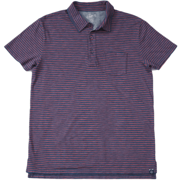 Feeder Stripe Polo - Navy Heather / Garnet Rose