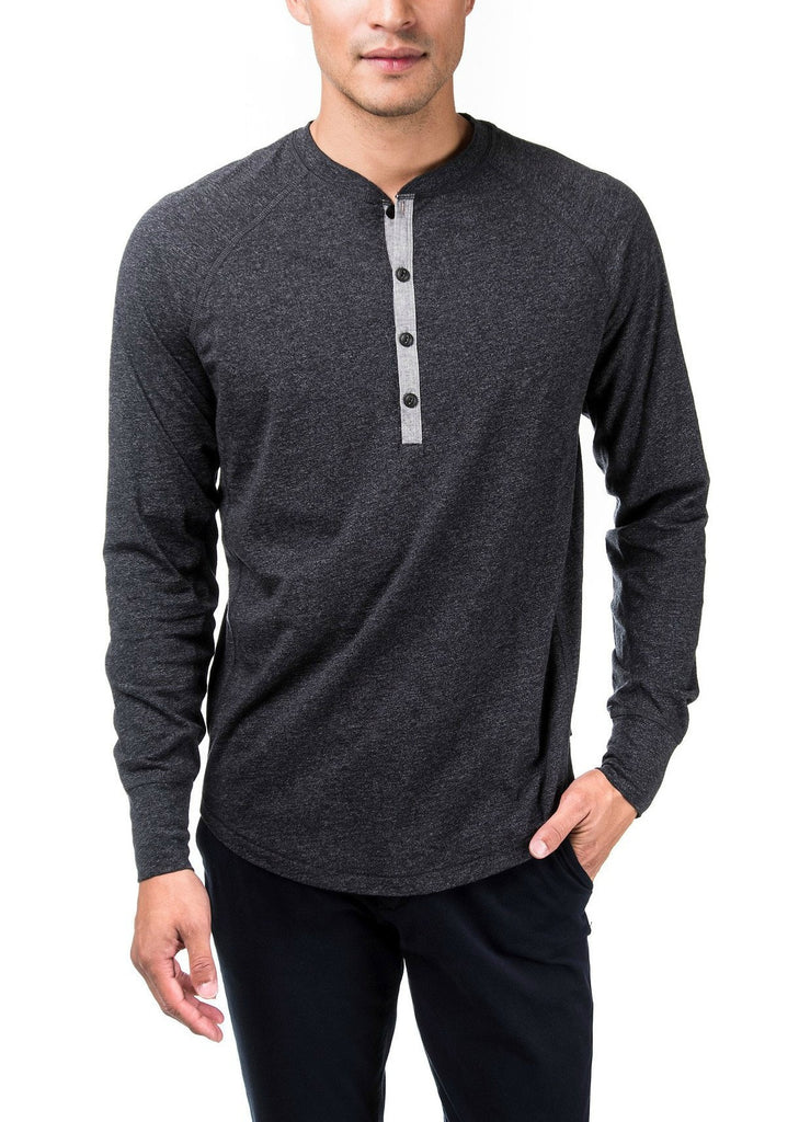 HENLEY LONG SLEEVE TEE- NAVY/BLACK