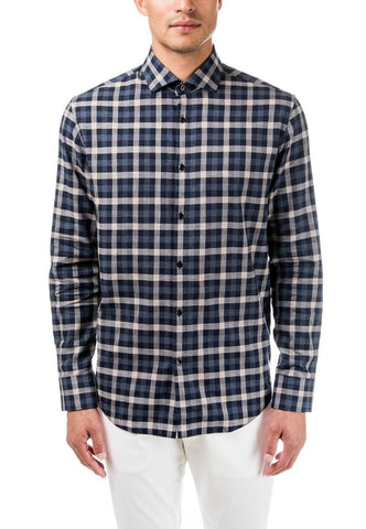 GOOD MAN MODERN SPREAD COLLAR - KHAKI BLACK PLAID