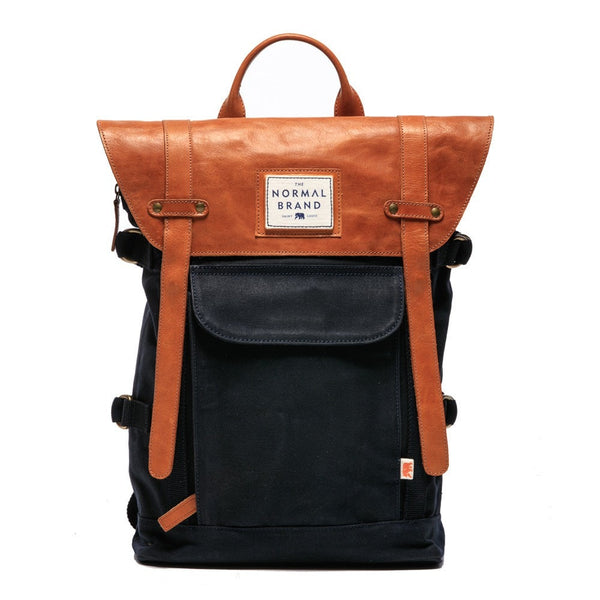 Normal Brand The Top Side Leather Backpack - Navy