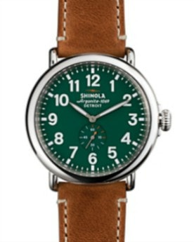 THE RUNWELL 47MM GREEN DIAL/ BROWN LEATHER