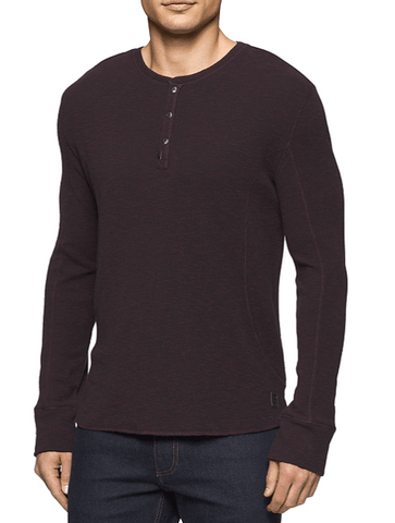 MIXED MEDIA HENLEY- MAROON