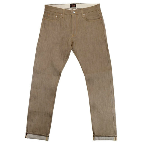 CIVILIANAIRE GOLD SELVAGE DENIM SLIM JEAN - TAN