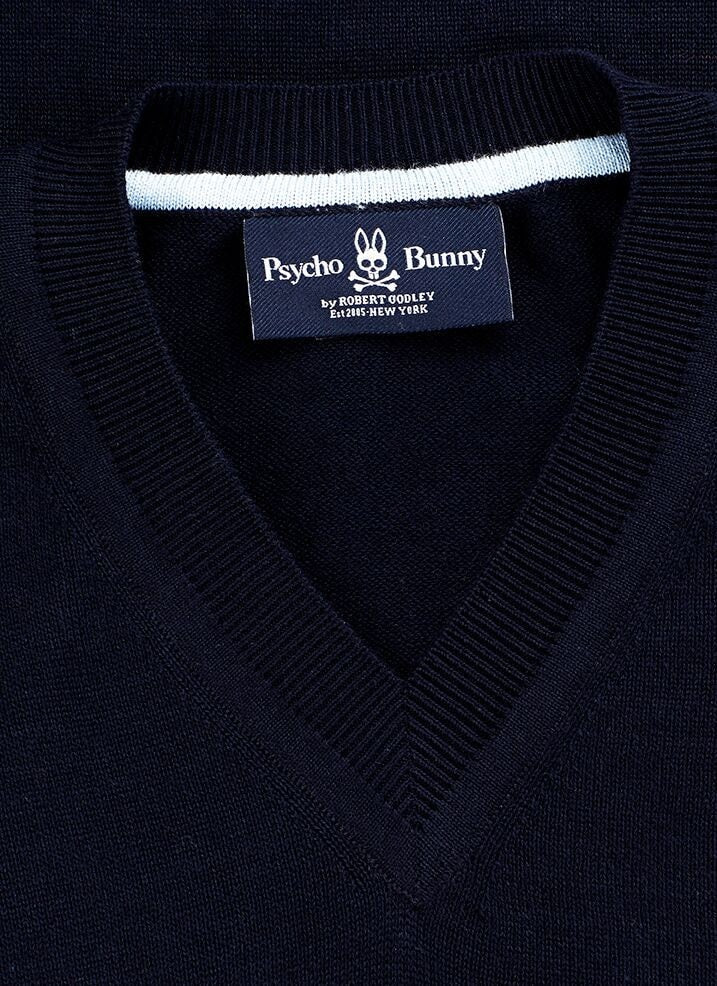 PSYCHO BUNNY COTTON V NECK SWEATER- NAVY