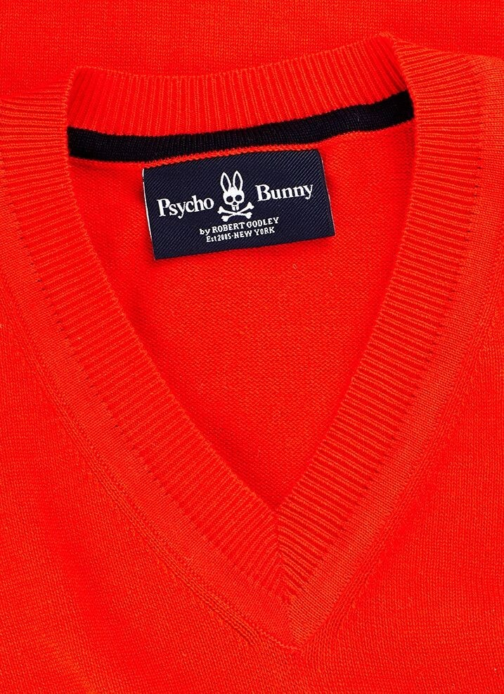 PSYCHO BUNNY COTTON V NECK SWEATER- ROUGE RED