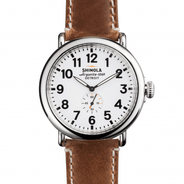 Shinola The Runwell White/ Brown Leather Strap Watch 47MM