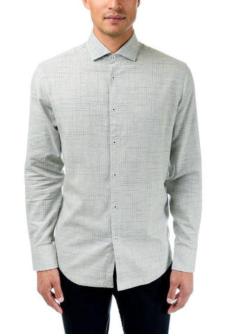 GOOD MAN MODERN SPREAD COLLAR - GREY HEATHER VINTAGE PLAID
