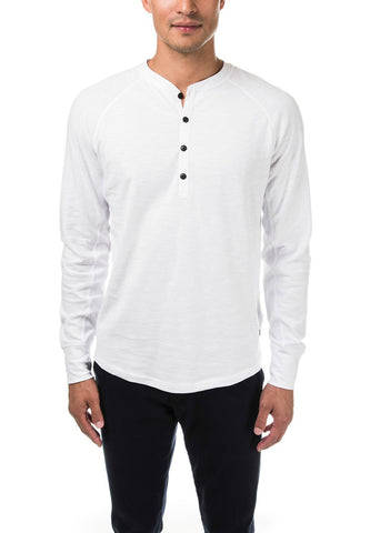 GOOD MAN BRAND HENLEY LONG SLEEVE TEE- WHITE