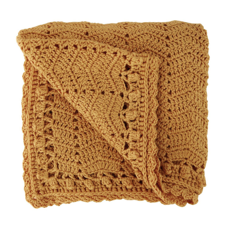 Cinnamon crochet baby blanket, ethically made, 90 X 90CM (36 x 36in) / 60% COTTON, 30% MILK FIBER, 10% CASHMERE Hand Wash Recommended. Gift Box included. OB Designs