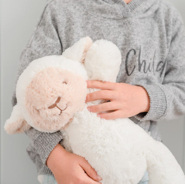 Stuffed Animals | Soft Plush Toys Australia | White Lamb - Lee Lamb Huggie Big Hugs Plush O.B. Designs