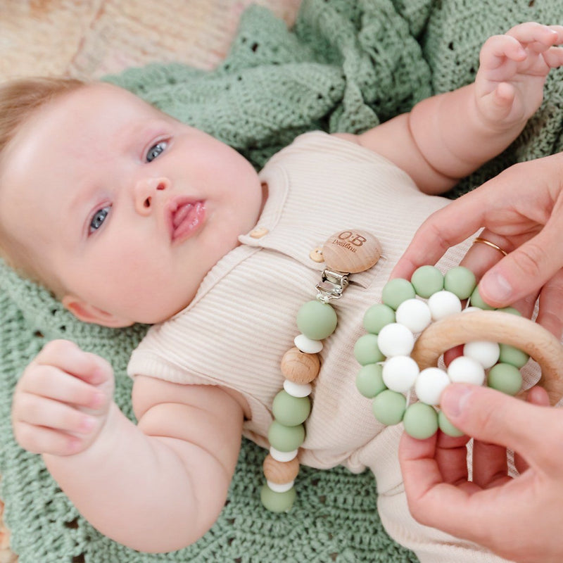 Sage | Eco-Friendly Teether | Organic Beechwood Silicone Toy Wooden Teether O.B. Designs Baby Toys - Plush Toys - Crochet Blankets Ethically Made