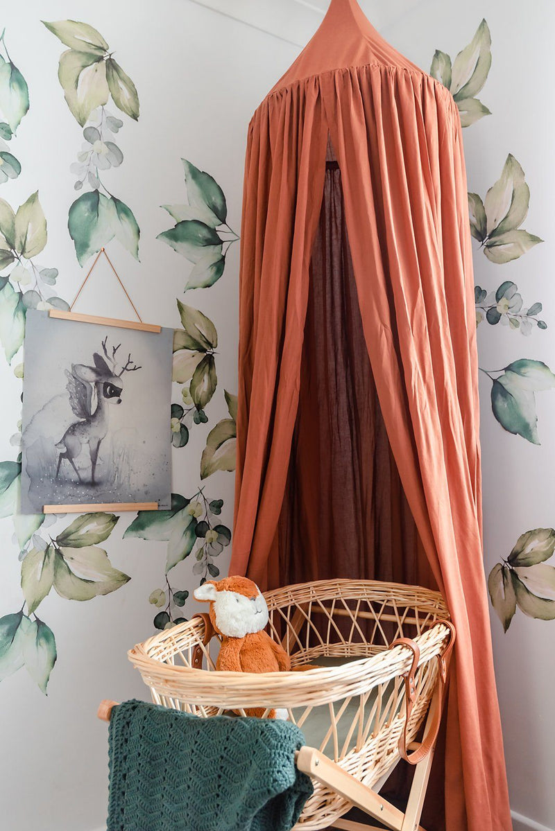 Linen Canopy | Boho Canopies | Cinnamon colour made from high-end Linen Rayon mix, 240 cm from hanging string to the floor, 200 cm from metal hoop, 55 cm diameter, wall hook included. Handmade by O.B. Designs.