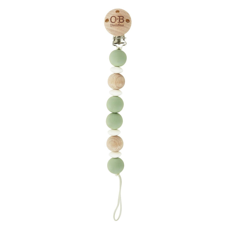 Eco-friendly dummy chain Made of food grade Silicone & Sustainably Harvested Beechwood Timber. Sage, white and natural wood colour.  Ethically made.   Designed in Australia by ob designs