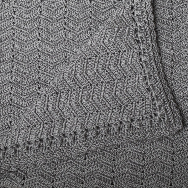 Hand Crochet Grey Baby Blanket