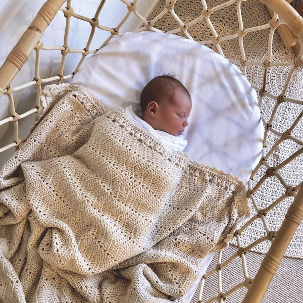 Hand Crochet Natural Baby Blanket - O.B. Designs