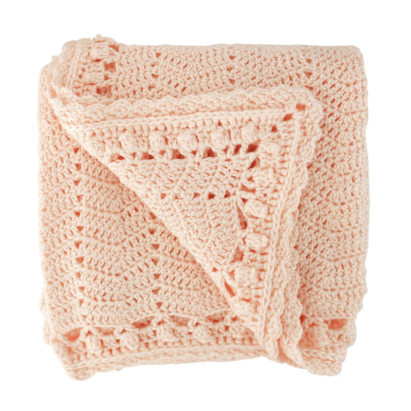 Peach crochet baby blanket, ethically made, 90 X 90CM (36 x 36in) / 60% COTTON, 30% MILK FIBER, 10% CASHMERE Hand Wash Recommended. Gift Box included. OB Designs