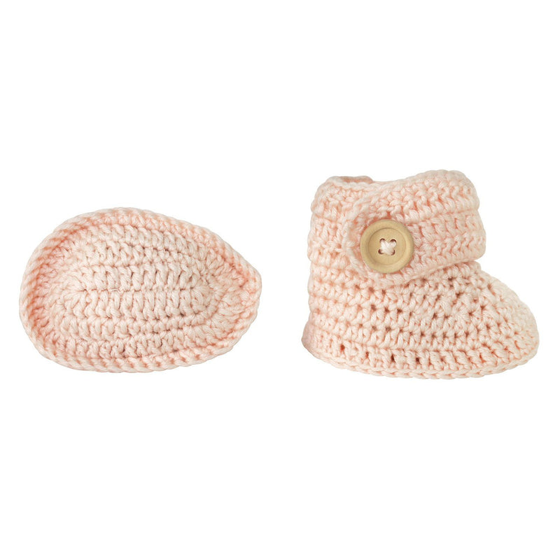 Peach | Crochet Bonnet & Bootie Set | Handmade | OB Designs Decor Range O.B. Designs Baby Toys - Plush Toys - Crochet Blankets Ethically Made